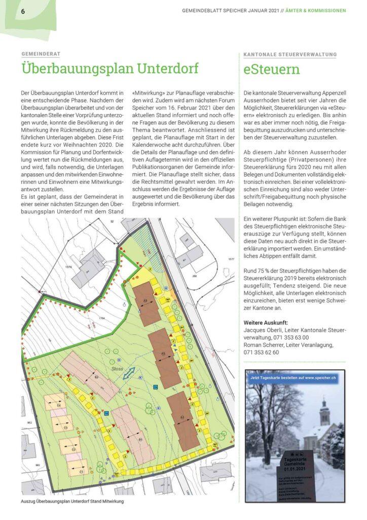 Gemeindeblatt Speicher Jan 2021 Überbauungsplan Unterdorf